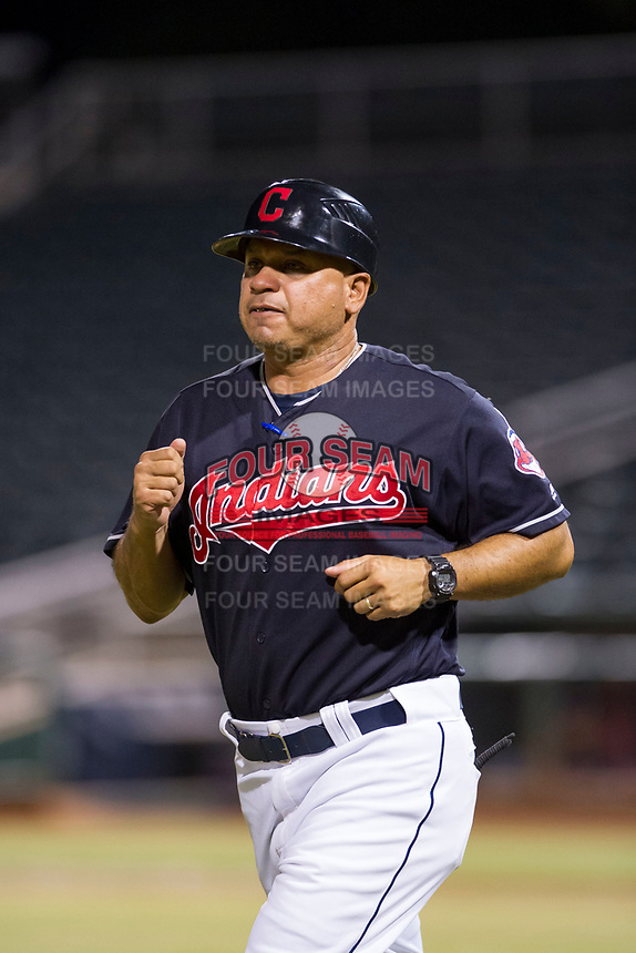 AZL Indians manager Anthony Medrano (8) jogs to third base between innings of a game against the AZL Padres on August 30, 2017 at Goodyear Ball Park in Goodyear, Arizona. AZL Padres defeated the AZL Indians 7-6. (Zachary Lucy/Four Seam Images)