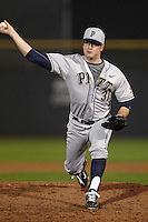Pittsburgh Panthers pitcher J.R. Leonardi #31 delivers a pitch during a game against the Michigan Wolverines at the Big Ten/Big East Challenge at Florida Auto Exchange Stadium on February 18, 2012 in Dunedin, Florida.  (Mike Janes/Four Seam Images)