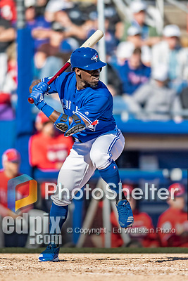 6 March 2019: Toronto Blue Jays outfielder Jonathan Davis in action during a Spring Training game against the Philadelphia Phillies at Dunedin Stadium in Dunedin, Florida. The Blue Jays defeated the Phillies 9-7 in Grapefruit League play. Mandatory Credit: Ed Wolfstein Photo *** RAW (NEF) Image File Available ***