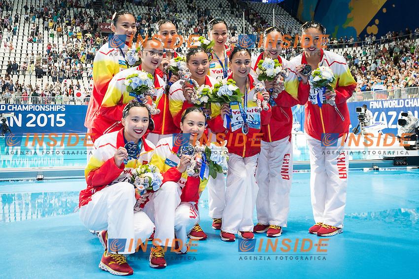 Podium<br /> Silver Medal<br /> CHN - People's Republic of China<br /> GU Xiao GUO Li<br /> LI Xiaolu LIANG Xinping<br /> SUN Wenyan SUN Yijing<br /> TANG Mengni XIAO Yanning<br /> YIN Chengxin ZENG Zhen<br /> Day 9 01/08/2015<br /> XVI FINA World Championships Aquatics<br /> Synchro<br /> Kazan Tatarstan RUS July 24 - Aug. 9 2015 <br /> Photo Giorgio Scala/Deepbluemedia/Insidefoto
