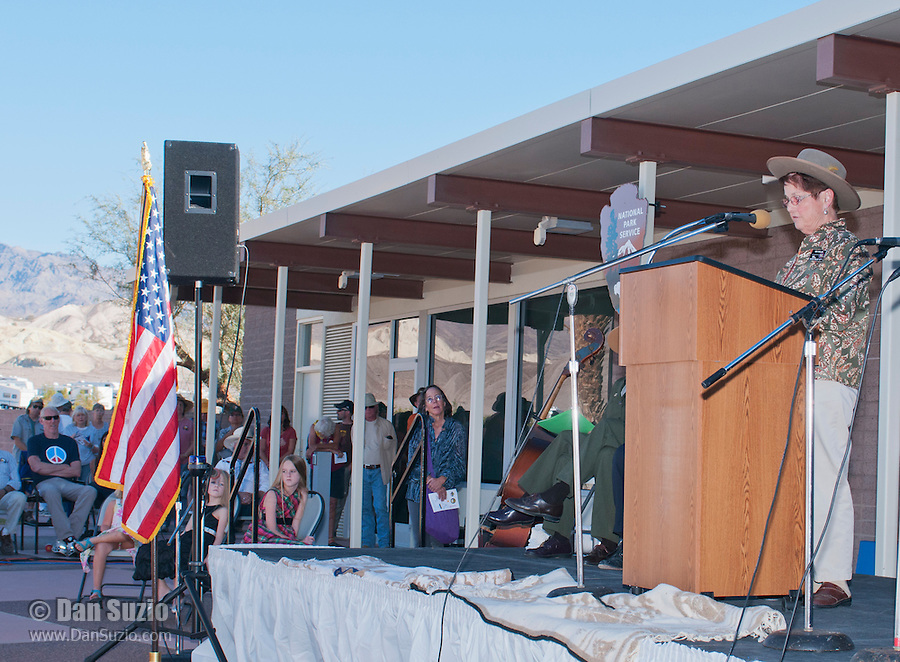 Bev Malley, President of the Death Valley 49ers, addresses the audience at the Grand Re-Opening of the Furnace Creek Visitor Center in Death Valley National Park, California, on November 4, 2012.