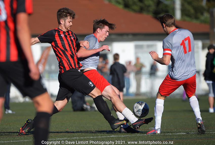 Action from the Chatham Cup football match between Brooklyn Northern United and Waterside Karori at Wakefield Park in Wellington, New Zealand on Saturday, 15 May 2021. Photo: Dave Lintott / lintottphoto.co.nz