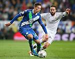 Real Madrid's Daniel Carvajal (r) and WfL Wolfsburg's Julian Draxler during Champions League 2015/2016 Quarter-finals 2nd leg match. April 12,2016. (ALTERPHOTOS/Acero)