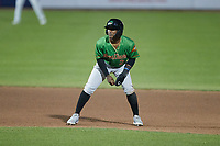 Luisangel Acuna (2) of the Down East Wood Ducks takes his lead off of second base against the Kannapolis Cannon Ballers at Atrium Health Ballpark on May 5, 2021 in Kannapolis, North Carolina. (Brian Westerholt/Four Seam Images)