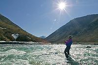 Arctic char fishing, Kongakut River, Brooks Range mountains, Arctic National Wildlife Refuge, Alaska