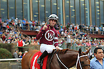 HOT SPRINGS, AR - FEBRUARY 20: #1 Gun Runner, with Florent Geroux aboard, celebrating after winning the Razorback Handicap at Oaklawn Park on February 20, 2017 in Hot Springs, Arkansas. (Photo by Justin Manning/Eclipse Sportswire/Getty Images)