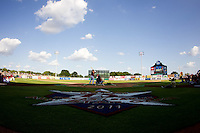 The Texas League All-Star Game Logo is seen on the field behind home plate during the 2011 Texas League All-Star Home Run Derby at Nelson Wolff Stadium on June 29, 2011 in San Antonio, Texas. (David Welker / Four Seam Images)..