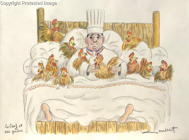 """Les Chef et ses Poulets""<br /> A Chef and His Chicks<br /> 11x15 ORIGINAL Watercolor on Paper<br /> $1,750"