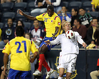 Brek Shea #23 of the USA MNT chessts the ball down in front of Adrian Ramos #20 of Colombia during an international friendly match at PPL Park, on October 12 2010 in Chester, PA. The game ended in a 0-0 tie.