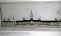Architectural drawing of the Houses of Parliament, London. Longitudinal section. Sir Charles Barry, 1836-67.