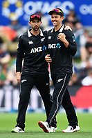 20th March 2021; Dunedin, New Zealand;  Devon Conway celebrates with Trent Boult after he takes a catch to dismiss Liton Das during the New Zealand Black Caps v Bangladesh International one day cricket match. University Oval, Dunedin.