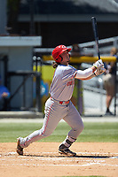 Rylan Thomas (37) of the Greeneville Reds follows through on his swing against the Burlington Royals at Burlington Athletic Stadium on July 8, 2018 in Burlington, North Carolina. The Royals defeated the Reds 4-2.  (Brian Westerholt/Four Seam Images)