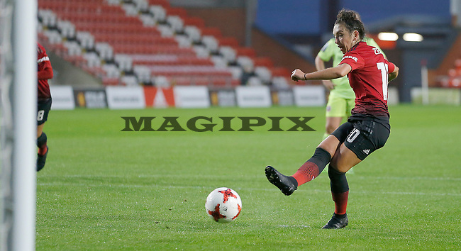 Katie Zelem of Manchester United Women scores the 1st goal of the match with a penalty kick