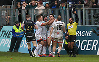 16 November 2019; Jacob Stockdale is congratulated by his team mates after he takes the ball from Semesa Rokoduguni to secure Ulster's victory during the Heineken Champions Cup Pool 3 Round 1 match between Bath and Ulster at The Recreation Ground in Bath, England. Photo by John Dickson/DICKSONDIGITAL