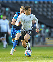 5th April 2021; Liberty Stadium, Swansea, Glamorgan, Wales; English Football League Championship Football, Swansea City versus Preston North End; Ben Cabango of Swansea City chases a loose ball while under pressure from Emil Riis Jakobsen of Preston North End