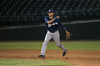 AZL Brewers shortstop Luis Avila (39) makes a throw to first base during an Arizona League game against the AZL Cubs 1 at Sloan Park on June 29, 2018 in Mesa, Arizona. The AZL Cubs 1 defeated the AZL Brewers 7-1. (Zachary Lucy/Four Seam Images)