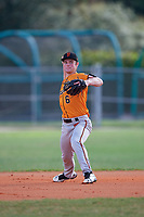 Dominic Scavone (6) during the WWBA World Championship at Terry Park on October 11, 2020 in Fort Myers, Florida.  Dominic Scavone, a resident of Orlando, Florida who attends Bishop Moore High School, is committed to Stetson.  (Mike Janes/Four Seam Images)
