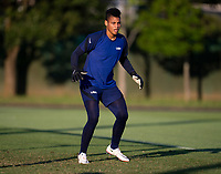 KASHIMA, JAPAN - AUGUST 1: Adrianna Franch #18 of the USWNT looks to the ball during a training session at the practice field on August 1, 2021 in Kashima, Japan.