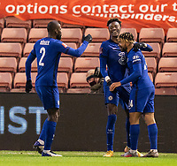 11th February 2021; Oakwell Stadium, Barnsley, Yorkshire, England; English FA Cup 5th round Football, Barnsley FC versus Chelsea; Tammy Abraham of Chelsea goal celebrations after his minute 64 opener for 0-1