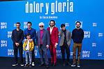 (L-R) Leonardo Sbaraglia, Antonio Banderas,  Asier Flores, Pedro Almodovar, Asier Etxeandia and Raúl Arévalo attend the photocall of the movie 'Dolor y gloria' in Villa Magna Hotel, Madrid 12th March 2019. (ALTERPHOTOS/Alconada)