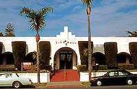 Irving Gill: Oceanside City Hall 1934. (Designed in 1929.) Only in 1986 confirmed by David Gebhardt to be Gill's. Note: zigzag moderne over entrance.  Mission style. 300 N. Coast Highway. Photo '86.
