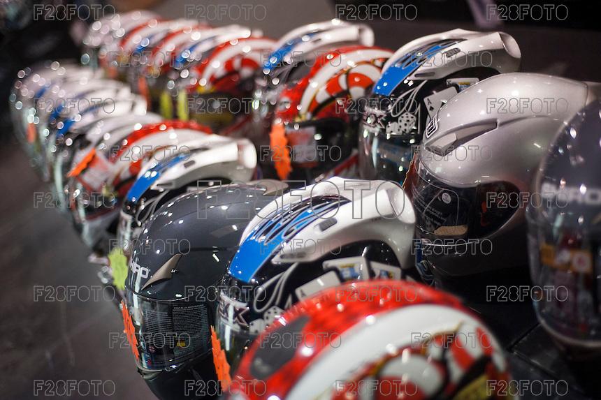 VALENCIA, SPAIN - NOVEMBER 7: Helmets during DOS RODES at Feria Valencia on November 7, 2015 in Valencia, Spain