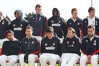 Essex players feel the cold during the press call - Essex County Cricket Club Press Day at the Essex County Ground, Chelmsford, Essex - 02/04/13 - MANDATORY CREDIT: Gavin Ellis/TGSPHOTO - Self billing applies where appropriate - 0845 094 6026 - contact@tgsphoto.co.uk - NO UNPAID USE.