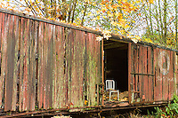 A single chair is seen in a dilapidated train box car in the Fall with leaves all around.