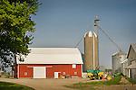 Red Barn, tractors, and grain mills. Route 25, Huron County, Michigan.