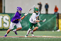 6 April 2019:  University of Vermont Catamount Face Off Specialist Alex Semler, a Sophomore from West Palm Beach, FL, breaks forward after winning a face-off against the visiting University at Albany Great Danes at Virtue Field in Burlington, Vermont. The Cats rallied to defeat the Danes 10-9 in America East divisional play. Mandatory Credit: Ed Wolfstein Photo *** RAW (NEF) Image File Available ***