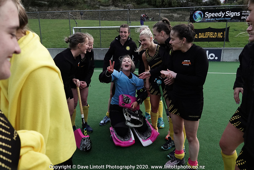 Dalefield players celebrate winning the shootout to take out victory in the women's premier one Wellington Hockey final between Hutt United and Dalefield at National Hockey Stadium in Wellington, New Zealand on Saturday, 26 September 2020. Photo: Dave Lintott / lintottphoto.co.nz