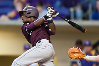 Mississippi State Bulldog outfielder Demarcus Henderson #2 swings against the LSU Tigers during the NCAA baseball game on March 16, 2012 at Alex Box Stadium in Baton Rouge, Louisiana. LSU defeated Mississippi State 3-2 in 10 innings. (Andrew Woolley / Four Seam Images)