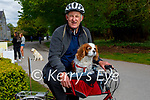 Mike O'Sullivan taking Lexi his dog on the bar of his bike in the Demesne in Killarney on Sunday.