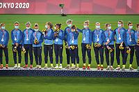 YOKOHAMA, JAPAN - AUGUST 6: Sweden during the 2020 Tokyo Olympics Women's Soccer medal ceremony at International Stadium Yokohama on August 6, 2021 in Yokohama, Japan.