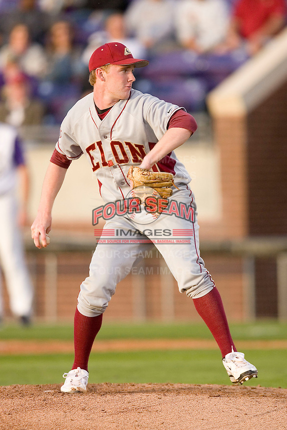 John Brebbia #30 of the Elon Phoenix in action versus the East Carolina Pirates at Clark-LeClair Stadium March 29, 2009 in Greenville, North Carolina. (Photo by Brian Westerholt / Four Seam Images)