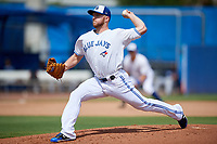 Dunedin Blue Jays relief pitcher Travis Bergen (29) delivers a pitch during a game against the Lakeland Flying Tigers on May 27, 2018 at Dunedin Stadium in Dunedin, Florida.  Lakeland defeated Dunedin 2-1.  (Mike Janes/Four Seam Images)