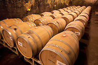 Wine barrels at Beringer Vineyards, Napa Valley, California.