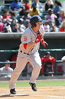 Greenville Drive outfielder Kevin Mager #24 at bat during a game against the Charleston RiverDogs at Joseph P. Riley Jr. Ballpark  on April 9, 2014 in Charleston, South Carolina. Greenville defeated Charleston 6-3. (Robert Gurganus/Four Seam Images)