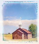 an old church sits in the country.