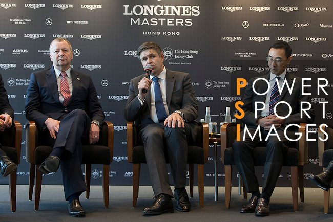 L-R: Winfried Engelbrecht-Bresges, JP, CEO of The Hong Kong Jockey Club, Juan-Carlos Capelli, Vice-President and Head of International Marketing of Longines, Michael Lee, President of Hong Kong Equestrian Federation, speak at Longines Hong Kong Masters official press conference at the Happy Valley Racetrack on February 02, 2016 in Hong Kong.  Photo by Victor Fraile / Power Sport Images