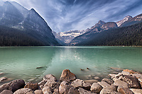 A scenic view of Lake Louise with some impact for the BC forest fire smoke.