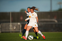 Western New York Flash defender Alex Sahlen (2) is marked by Sky Blue FC defender Kendall Johnson (5). The Western New York Flash defeated Sky Blue FC 3-0 during a National Women's Soccer League (NWSL) match at Yurcak Field in Piscataway, NJ, on June 8, 2013.