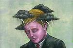 Illustrative image of sad businessman suffering from economic loss