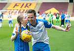 Motherwell v St Johnstone…05.05.18…  Fir Park    SPFL<br />Steven MacLean in his last game for saints celebrates his hat trick at full time with his daughter Ruby<br />Picture by Graeme Hart. <br />Copyright Perthshire Picture Agency<br />Tel: 01738 623350  Mobile: 07990 594431