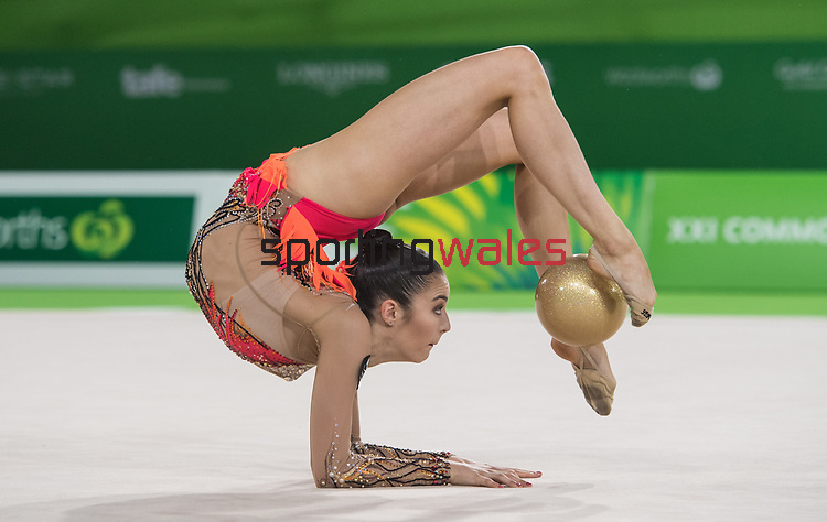 Wales Laura Halford in action during todays Gymnastics Ball Final <br /> <br /> *This image must be credited to Ian Cook Sportingwales and can only be used in conjunction with this event only*<br /> <br /> 21st Commonwealth Games - Rhythmic Gymnastics - Team Final & Individual Qualification -  Day 9 - 13\04\2018 - Coomera Indoor Sports Centre - Gold Coast City - Australia