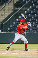 AZL Angels center fielder Rayneldy Rosario (71) bats during a game against the AZL Indians on August 7, 2017 at Tempe Diablo Stadium in Tempe, Arizona. AZL Indians defeated the AZL Angels 5-3. (Zachary Lucy/Four Seam Images)