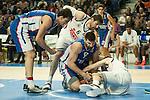 Real Madrid´s Rudy Fernandez and Anadolu Efes´s Deniz Kilicli during 2014-15 Euroleague Basketball match between Real Madrid and Anadolu Efes at Palacio de los Deportes stadium in Madrid, Spain. December 18, 2014. (ALTERPHOTOS/Luis Fernandez)