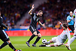 Gerard Pique of Spain (R) trips up with Gonzalo Higuain of Argentina (L) during the International Friendly 2018 match between Spain and Argentina at Wanda Metropolitano Stadium on 27 March 2018 in Madrid, Spain. Photo by Diego Souto / Power Sport Images