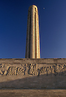 "Kansas City, MO, Missouri, Liberty Memorial Tower and Memorial Wall located in Penn Valley Park in Kansas City. The Memorial Tower is a 217-foot """"Torch of Liberty"""" observation tower."