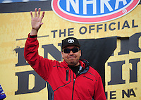 Feb. 19, 2012; Chandler, AZ, USA; NHRA funny car driver Cruz Pedregon during the Arizona Nationals at Firebird International Raceway. Mandatory Credit: Mark J. Rebilas-
